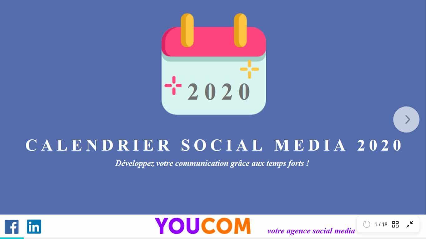 Calendrier social media2020 par YOUCOM