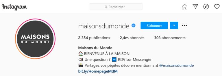 Exemple CTA instagram Maison du Monde