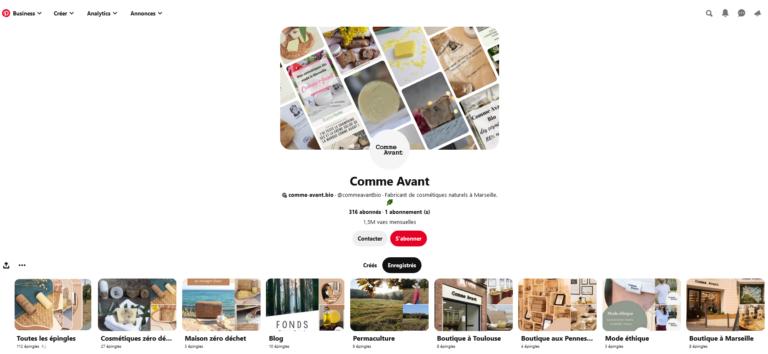Exemple de compte pinterest e-commerce
